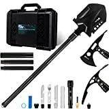 BeyJoy Heavy Outdoor Survival Tactical Gear Tactical Toolbox Equipment Set,Camping Hiking Garden -Manganese Steel Military Folding Engineer Shovel Axe Ice Pick Knife Fork Torch Compas