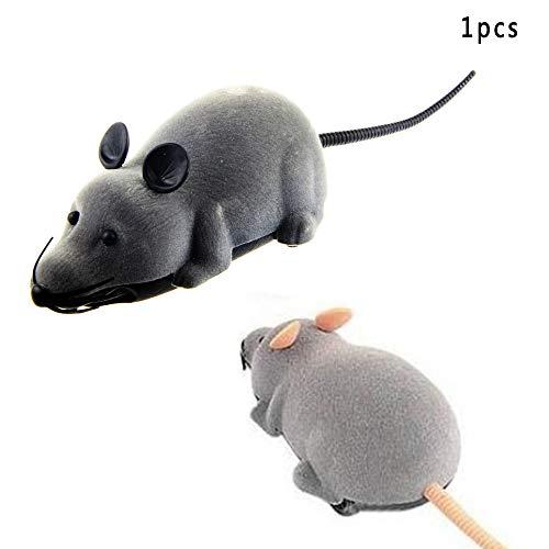 Vektenxi Katzenspielzeug Katze Drahtlose Simulierte Plüsch Maus Spielzeug Ferngesteuerte Maus Spielzeug Chase Spielzeug Heimtierbedarf (Grau)