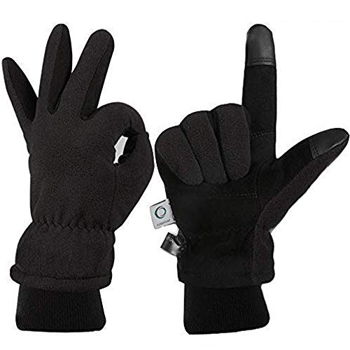 CCBETTER Winter Gloves with Windproof Deerskin Suede Leather, Cold-proof Gloves -Insulated Polar Fleece Heatlok Cotton Layer-Black/Gray/Yellow (Black, L)