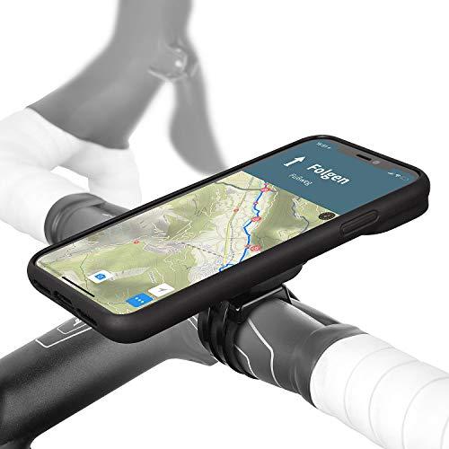 Wicked Chili QuickMOUNT Fahrrad Halterung kompatibel mit iPhone XR - Lenker oder Vorbau Befestigung mit Regenponcho und Schutzhülle für MTB Rennrad Motorrad Navigation (6,1 Zoll) schwarz