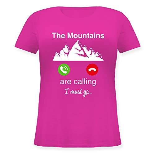 Wintersport - The Mountains Are Calling I Must go - 46 Große Größen - Fuchsia - T-Shirt - JHK601 - Lockeres Damen-Shirt in großen Größen mit Rundhalsausschnitt