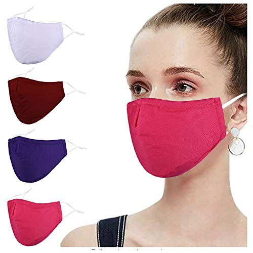 Pure Cotton Cloth Face Cloth Mask Reusable Breathable Washable, Adjustable For Women Men White Rose Red Purple Sport For Working Out Outdoor 4 Ply Running 3d Thin 3 Layer Dustproof Best Ear Loops Duty Adult Wire Nose Bridge Gift Christmas