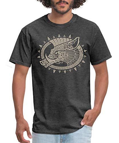 Spreadshirt Norse Boar Gullinbursti Celtic Knotwork Men's T-Shirt, 5XL, Heather Black