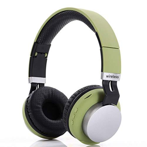 Wsaman Headhpones Ligeros Plegables, Auriculares inalámbricos Bluetooth,con Cancelación Activa de Ruido, para Deportes, Oficina en Casa, Trabajo,Verde