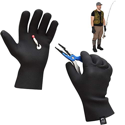 Mens Neoprene Gloves Waterproof Fishing Gloves – Ice Fishing Gloves Waterproof Men – Textured Grip Palm Neoprene Fishing Gloves – Soft Lining –Waterproof Gloves for Fishing –One Size Fits Most L to XL