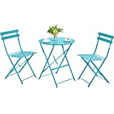 YAHEETECH Metal Folding Bistro Set, 3 Piece Outdoor Furniture All Weather-Resistant Table and Chairs Patio Conversation Set for Yard Indoor/Outdoor, Blue