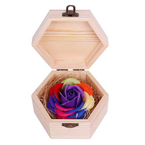 FENGLI Soap Flower Rose Gift, Colourful Rose in Wooden Hexagon Shape Box, Idea Valentines Day Mothers Day, Anniversary, Birthday Decoration, Engagement,Wedding, Party (Color : Purple)