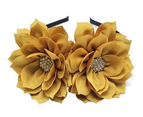 Fascinator Stirnband Haarspange Lotus Blume Braut Hochzeitsfeier Cocktail Headwear (Gold)