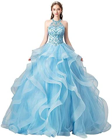 Lazacos Women s Halter Beaded Ball Gown Quinceanera Dress Corset Party Prom Dress US10 Blue product image