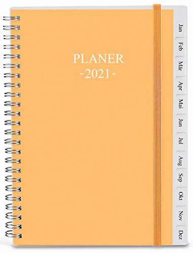 2021 Tagebuch, A5-Wochenplaner mit Monatsregistern, Gesäßtasche, elastischer Verschluss, flexibler Einband, Doppeldrahtbindung, einfache Organisation des täglichen Lebens, 14,8×21cm, Orange