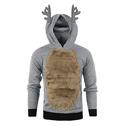 GzxtLTX Men Autumn Winter Cosplay Xmas Hoody Reindeer Feather Hooded Christmas Plus Velvet Fur 3D Blouse Top