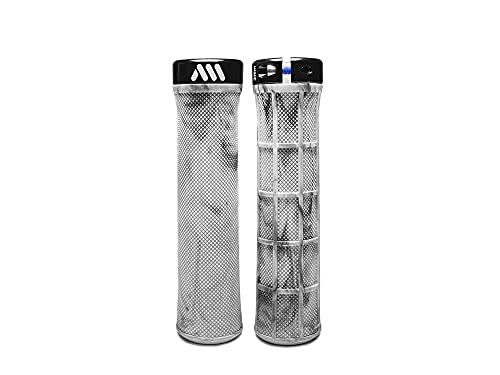 All Mountain Style AMS Berm Grips - Lock-on Tapered Diameter, Comfortable Grips, White Camo