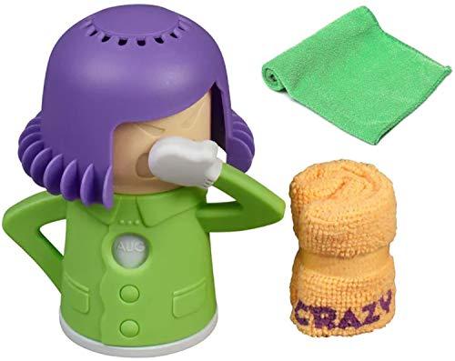 Mikrowellen Reiniger Crazy Mama + 1x Extra-Mikrofasertuch | Ideal als Dampfreiniger Mikrowelle und Backofen| Genialer Küchenhelfer & Reiniger Küche | Kühlschrank Geruchsentferner