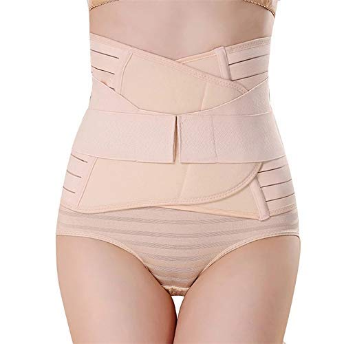 GLAMORAS ® Women's Postpartum Recovery Belly Band Waist Trainer Cincher Trimmer Tummy Control Slimming Body Shaper Shapewear Belt (Beige, Fits Upto Size 36')