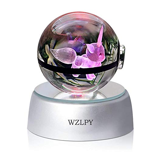 3D Crystal Ball LED Night Lights Children's Gift Lamp 50mm Ball Automatic Discoloration Base (eeve)