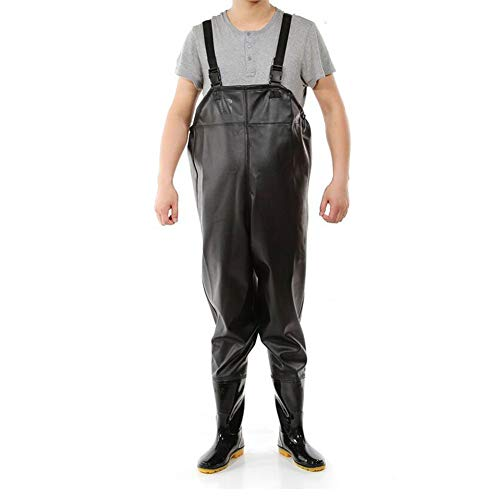 QICLT Vadeadores de Pesca, Calidad Pantalones de Pesca Nylon/PVC Transpirable y Ligero Hebilla Simple YKK Impermeable Unisexo,44