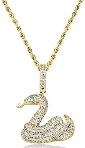 NC110 Hip-Hop Collar con Colgante de circón Completo Serpiente de Cascabel Cadena giratoria de 3 mm Hombres y Mujeres Son adecuados para Regalo de joyería-Oro YUAHJIGE
