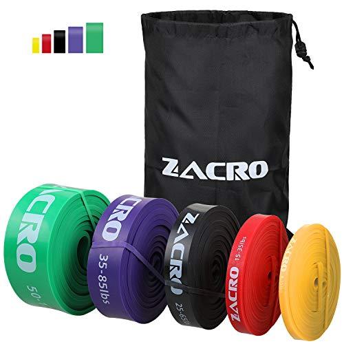 Zacro 5pcs Banda de Resistencia, Bandas Elasticas de Fitness Premium al Látex Natural para Entrenamiento de Fuerza, Estiramiento, Pilates, Yoga, Levantamiento de Pesas, Entrenamiento de Resistencia