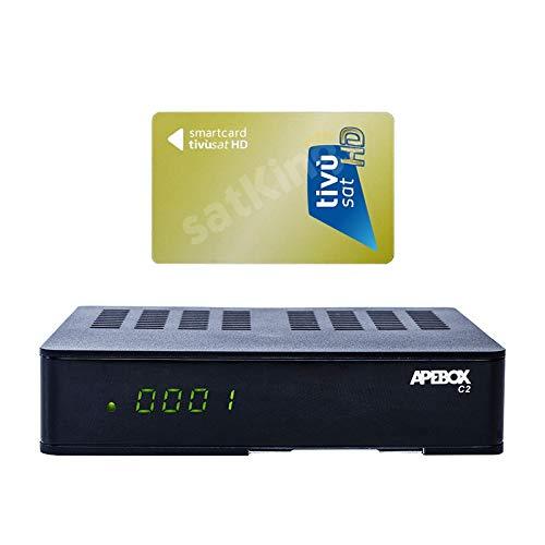 Apebox C2 Full HD 1080p Combo DVB-S2 Sat & DVB-T2/C Kabel Receiver mit HD TiVuSat Karte aktiv (H.265, 1x DVB-S2, 1xDVB-T2/C, 2X USB, HDMI, LAN, Kartenleser, YouTube, Mobile Apps) Schwarz