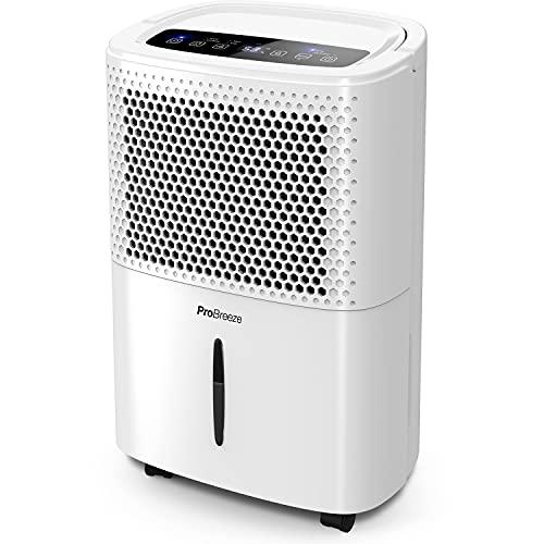 Pro Breeze Deshumidificador 12L / día con Pantalla Digital de Humedad, Modo de Reposo, Drenaje Continuo, Secado de Ropa y Temporizador de 24 Horas: Ideal para Humedad y condensación