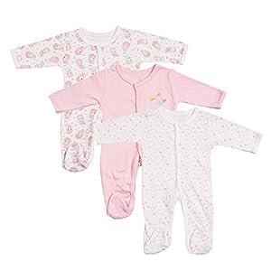 Viviland Bebé Niño Niña Pijama, algodón de Manga Larga Pelele, Paquete de 3, 0-12 Meses
