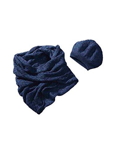 Heine Damen-Strickset Mütze und Schal Ajourmuster (0, blau)
