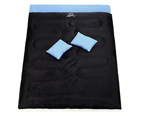 Double Couple Sacs de couchage Plus épais À l'extérieur Camping 450G / m2 Coton (Y compris l'oreiller * 2) , blue