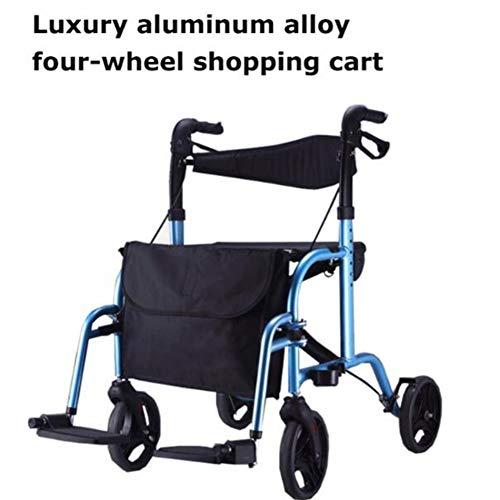 2 in 1 rollator en doorvoerstoel Lichtgewicht aluminium frame, inklapbare rollator met 4 wielen en stoel, ideaal voor kofferbak, reizen en vliegen, in hoogte verstelbaar