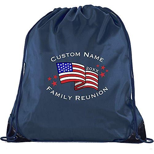 BOUIA Amerikaanse vlag met aangepaste naam - Family Reunion Party Favor Gift Tassen 36X43CM