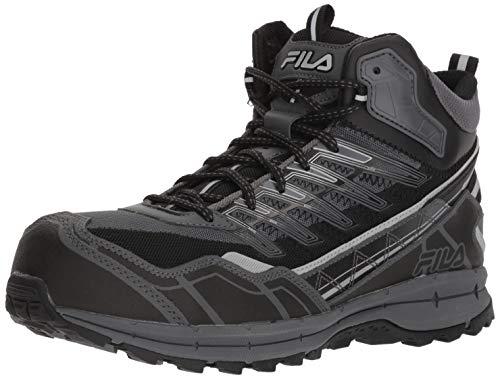 Fila Men's Hail Storm 3 Mid Composite Toe Trail Work Shoes Hiking, Castlerock/Black/Metallic Silver, 8 D US