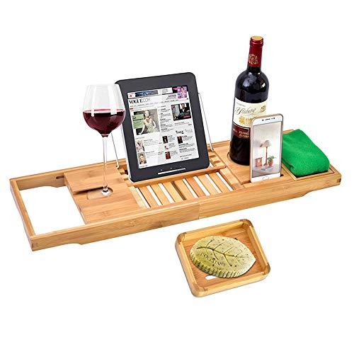 Youngshion Luxuriöses, erweiterbares Bambus-Badewannen-Tablett mit Ablage für Handy, Tablet, Weinhalter und Seifenschale für Spa, entspannende Dusche