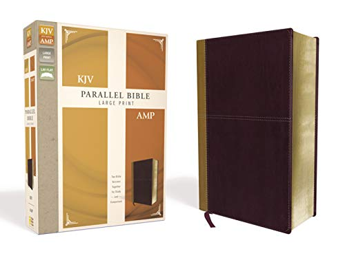 KJV, Amplified, Parallel Bible, Large Print, Leathersoft, Tan/Burgundy, Red Letter: Two Bible Versions Together for Study and Comparison