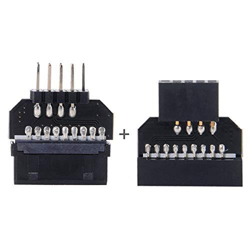 CY - Adaptador USB 2.0 de 9 pines reversible a la placa base USB 3.0 de 20 pines de cabecera hembra
