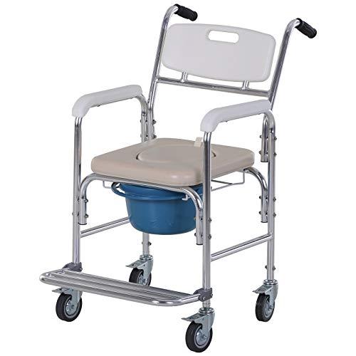 homcom Sedia a Rotelle Impermeabile con WC Seduta in Ecopelle, 4 Ruote, Vaso Rimovibile per Anziani/Disabili, 88x54x94cm