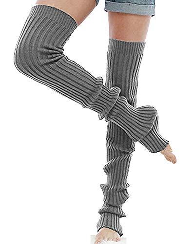 Nanxson Damen Beinwärmer Gestrickt Lange Beinstulpen Stulpen Strumpf für Ballett Fitness Yoga TTW0056 (M 85cm, grau