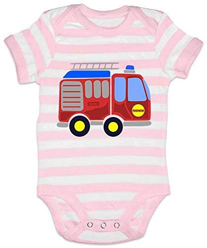 Hariz - Body para bebé, diseño de rayas de bomberos, coche, policía, incluye tarjeta de regalo, color rosa y blanco