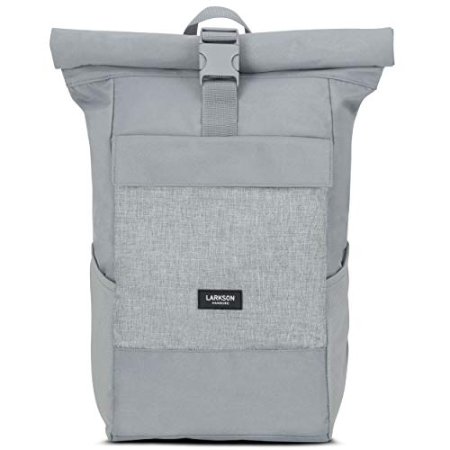 Roll Top Backpack Womens & Mens Grey - Larkson No 4 Daypack Made from Recycled PET Bottles...