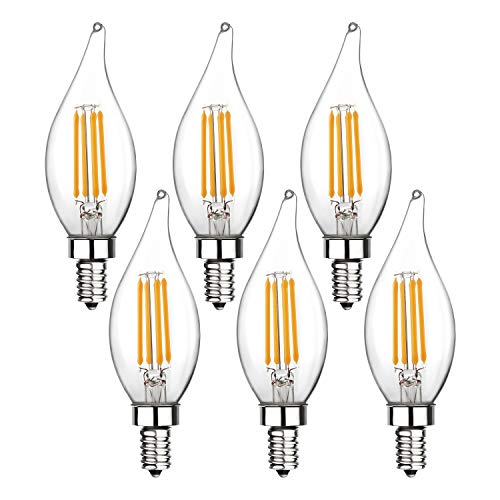 Candelabra LED Bulbs, Ohderii E12 Base 40W Equivalent Filament Candle Bulbs 400 Lumens 2700K Warm White Flame Tip Light Bulbs,Non-Dimmable (Warm White)