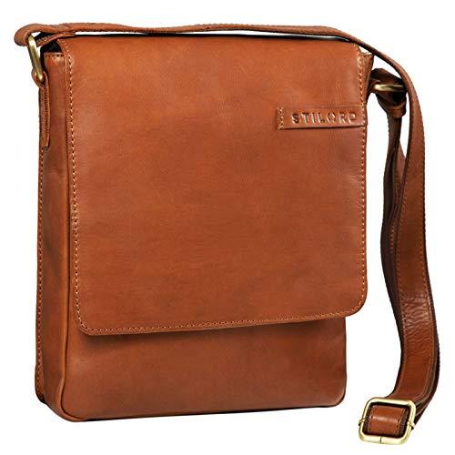 STILORD 'Dario' mannen schoudertas leder vintage boodschappentas voor iPad 9,7-10,1 inch lade tas kleine schoudertas echt leer, Kleur:cognac - bruin