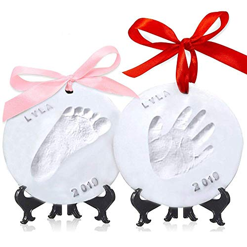 Baby Handprint Footprint Ornament Keepsake Kit - Personalized Baby Prints Ornaments for Newborn - Baby Nursery Memory Art Kit - Baby Shower Gifts, Christmas Gift for Boys Girls (Gold)