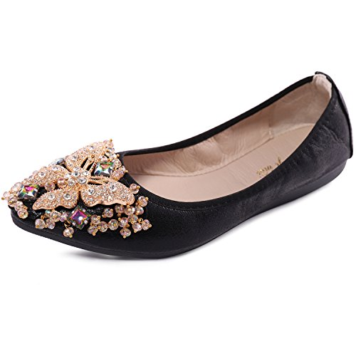 Cattle Shop Womens Foldable Soft Ballet Flats Bling Rhinestone Comfort Slip On Loafers Walking Shoes, Black, 9