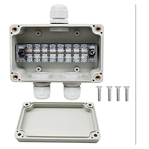 SRJQXH IP66 Cajas de Conexiones Impermeables, Caja de Conexiones de 3 Vías Con Bloque de Terminales, Tornillos y Enchufe PG9 Impermeable, Para Cables de Interior y Exterior de 4-8 mm (Blanco)