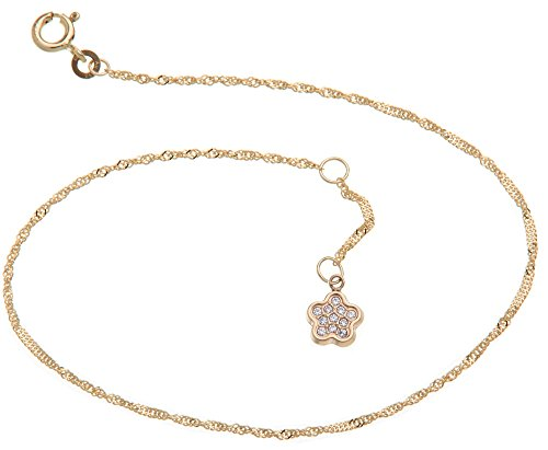 Silberketten-Store Cavigliera Singapore–larghezza 1,4mm–Lunghezza a scelta 23–30cm con ciondolo a fiore–Vero oro 333 e oro, cod. 1235