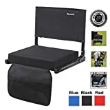 Sheenive Stadium Seat - Wide Padded Cushion Bleacher Stadium Chairs Seats for Outdoor Bench Bleachers with Leaning Back Support and Shoulder Strap, Perfect for NFL & Baseball etc Games,Black