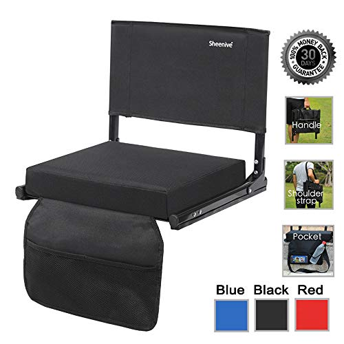 Sheenive Stadium Seats for Bleacher - Wide Padded Cushion Stadium Seats Chairs for Outdoor Bleachers with Leaning Back Support and Shoulder Strap, Perfect for NFL and Baseball Games, 1 Pack, Black