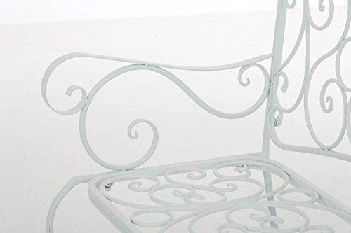 CLP Metall Gartenbank TUAN, 2-er Sitz-Bank Garten, Eisen lackiert, Design nostalgisch antik, 105 x 50 cm Weiß - 6
