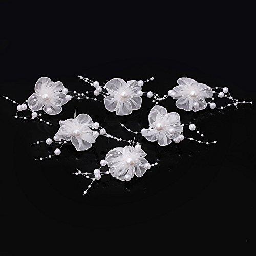 Veewon 6 x Perle Haarspangen Haarnadel Hochzeit Braut Schmuck Braut Haar Zubehör Mode Spitze Blume Stil
