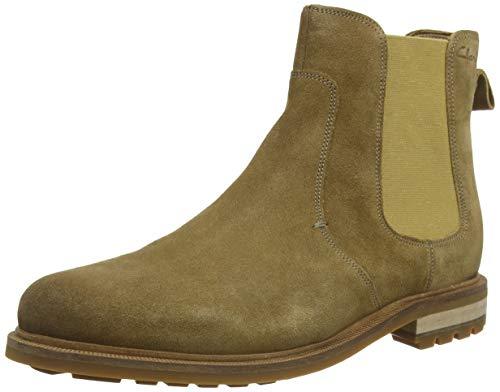 Clarks Herren Foxwell Top Chelsea Boots, Beige (Dark Sand Suede Dark Sand Suede), 43 EU