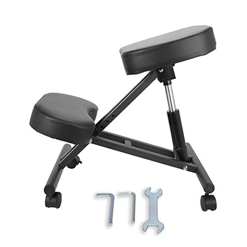Ergonomic Kneeling Chair with Thick Foam Cushions & Brake Casters,Adjustable Stool for Home and Office - Improve Your Posture to Relieve Neck and Back Pain