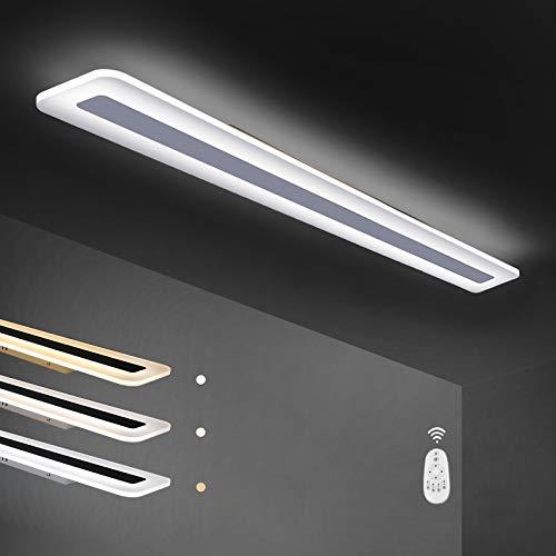ZMH LED Deckenleuchte Panel dimmbar mit Fernbedienung 100cm 41W weiße Bürolampe aus Metall und Acryl moderne Wohnzimmerlampe flache Deckenlampe geeignet auch für Flur Schlafzimmer Küche Balkon